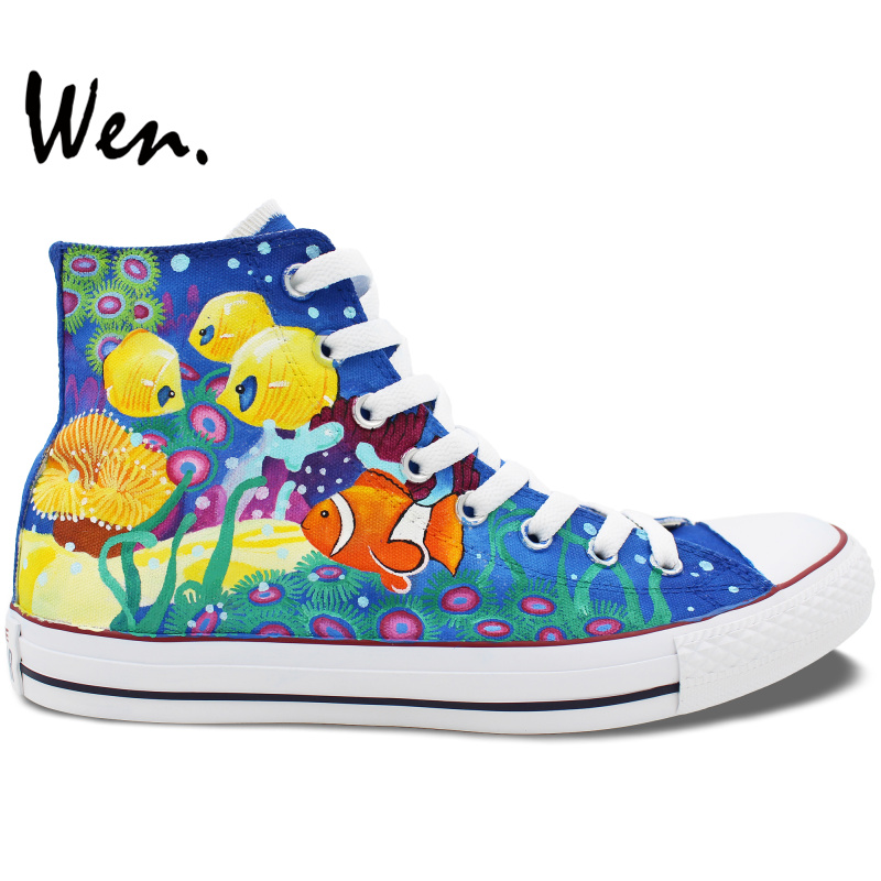 Wen Men Women's Hand Painted Shoes Design Custom Sea Creatures Coral Clownfish Nemo High Top Canvas Sneakers for Boys Girls anime shoes girls boys converse all star pokemon go dewgong sea lion design hand painted high top canvas sneakers men women