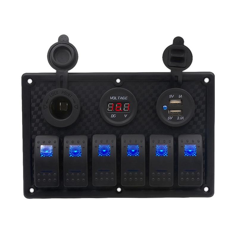 4 in1 Car Charger Motorcycle Plug Dual USB Adaptor+12V/24V Cigarette Lighter Socket+LED 6 Gang Boat Rocker Switches+ Volt Meter прибор для авто oem 3 in1 12v 24v 68050