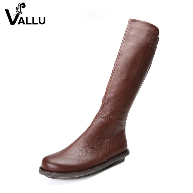 2018 VALLU обувь Натуральная кожа женщины колено высокая сапоги ручной работы, сапоги женские молния сзади высокое качество