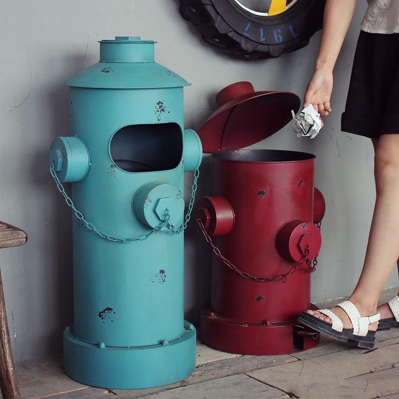 Americano annata nostalgico lamiera di ferro pillar-box spazzatura secchio decorazione della casa oggetti di scena