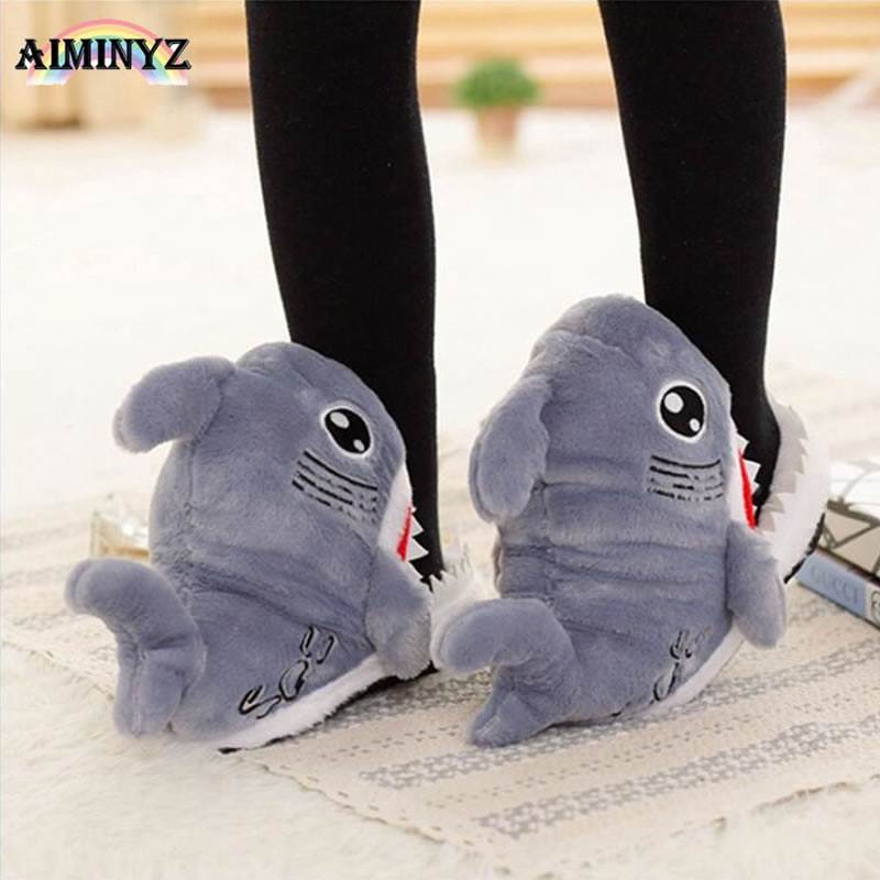 Unisex Adult Shark Plush Shoes Cotton Warm Winter Slippers Cute Plush Soft Cartoon Animal Cosplay Casual Home Indoor Licorne