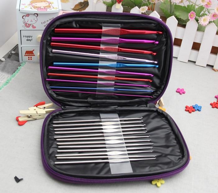 22Pcs Set Vícebarevný Hliníkové a Stříbrné Háčky Háčky Pletené tkané řemeslo Příze Šicí nástroje a příslušenství s pouzdrem