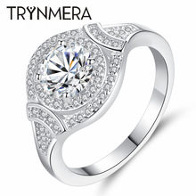 Silver Color Exquisite Fashion Square Wedding & Engagement Ring Made With Cubic Zirconia Jewelry(China)