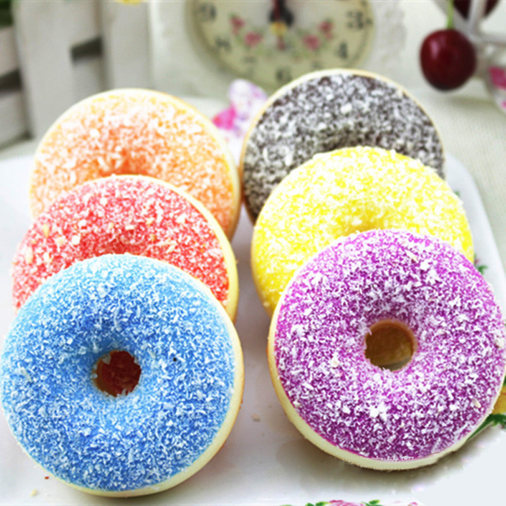 1PC Squishy Squeeze Stress Reliever Decor Toys Colourful Doughnut Scented Slow Rising Toy Antistress Decompression toy Gift #N25 stress reliever screaming hen squeezy toy large