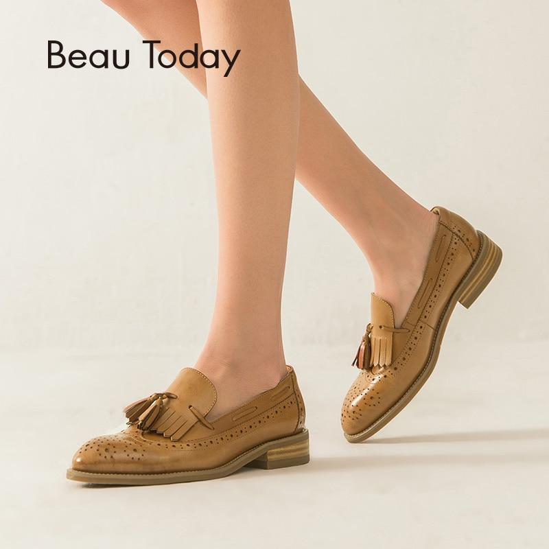 Ayakk.'ten Kadın Topuksuz Ayakkabı'de BeauToday Dana Derisi Loafer'lar Kadın Brogue Saçaklar Sivri Burun Kayma Hakiki Deri Bayanlar Düz Topuk Ayakkabı El Yapımı 27115'da  Grup 1