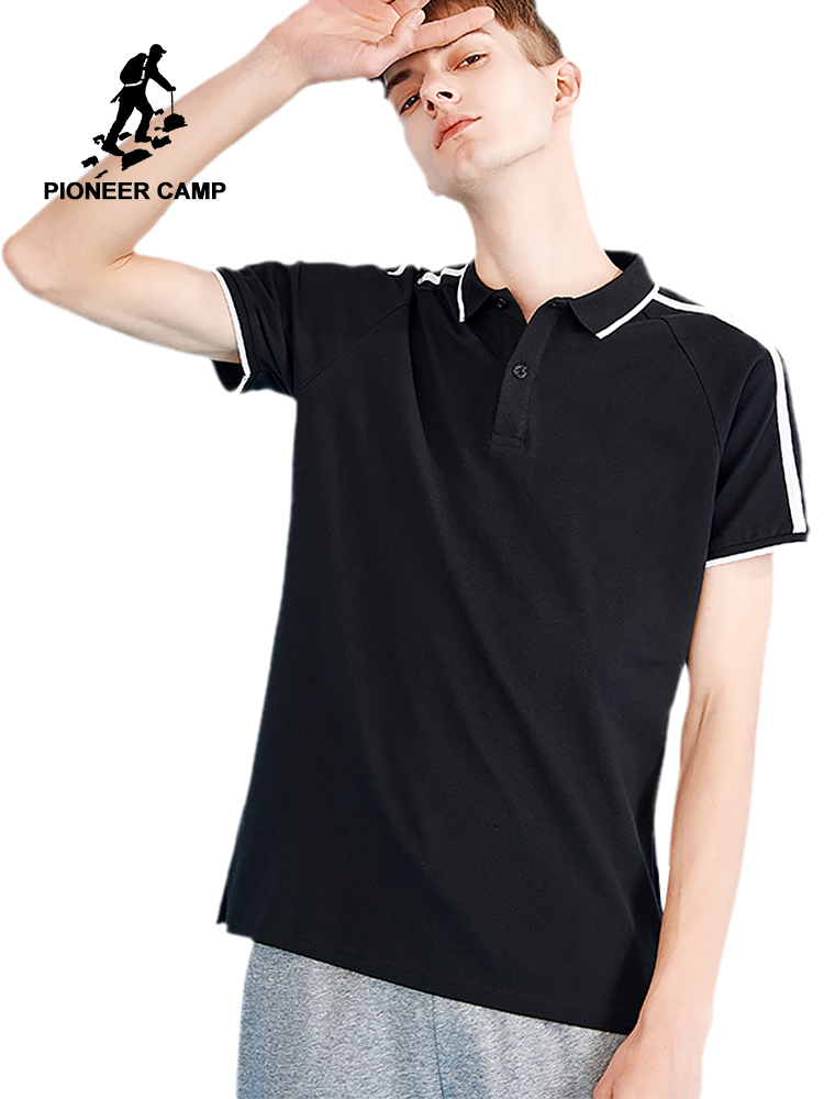 Pioneer camp new short sleeve   polo   shirt men brand clothing fashion white striped   polo   for men pure cotton mens   polo   ADP802148