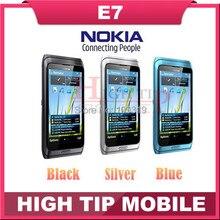 "Russian QWERTY Keyboard Nokia Unlocked Original cell phones E7 wifi 8.0MP camera,4.0"" capacitive screen 3G phone GPS Refurbished"