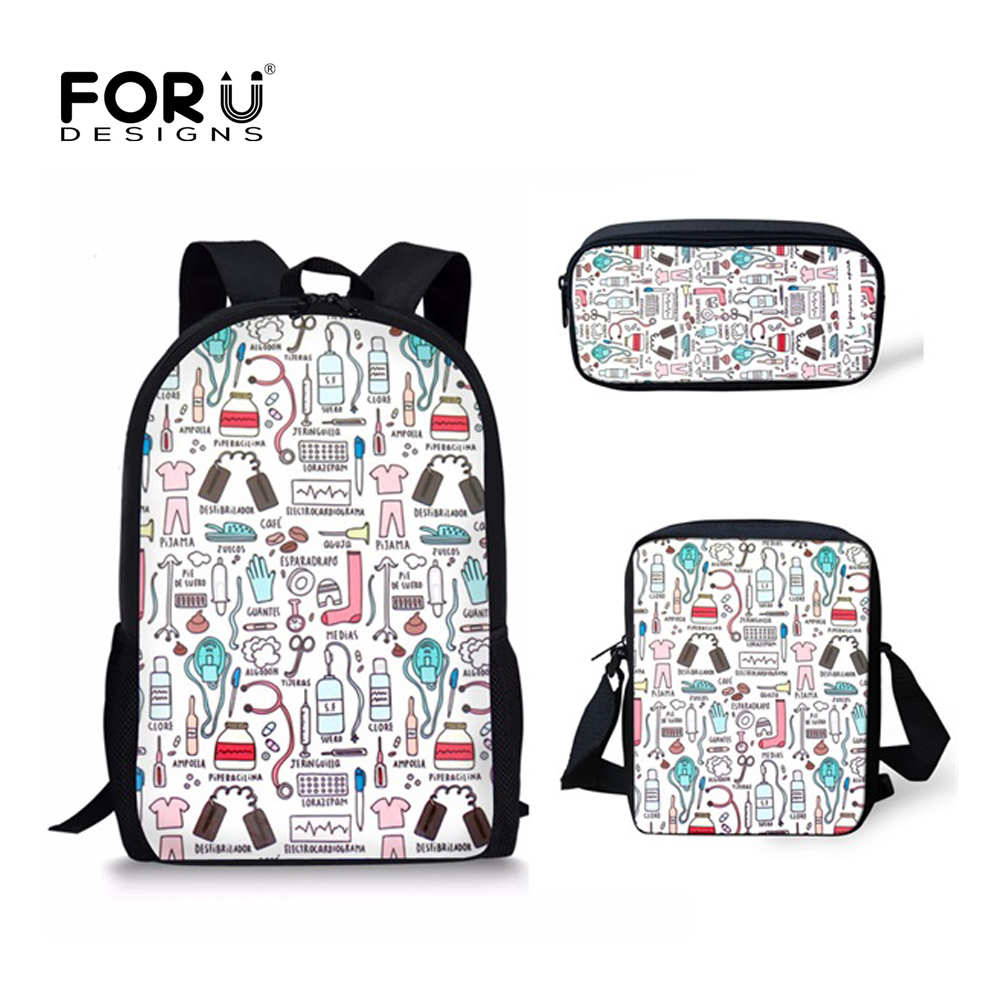 FORUDESIGNS 3PCS/SET Backpack Fashion Nurse School Bags For Teen Girls Backpack Canvas Nursing Kids Schoolbags Student Book Bags
