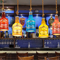 2pc/lot Nordic Dia13cm Colorful Resin Wine Bottle Led Pendant Light Cafe Bar Restaurant Manual Carved Hemp Rope Suspension  Lamp