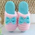Mulheres Chinelos de Inverno Moda Quente Acolchoado-Algodão Macio Casa Anti-Slip Sapatos Chinelo Interior de Pelúcia Senhoras Das Mulheres Chão Sapato outono