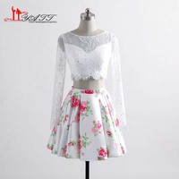 White Two PiecesFloral Print Cocktail Dresses 2017 Party Evening Gowns Long Sleeves Robe De Soiree Liyatt
