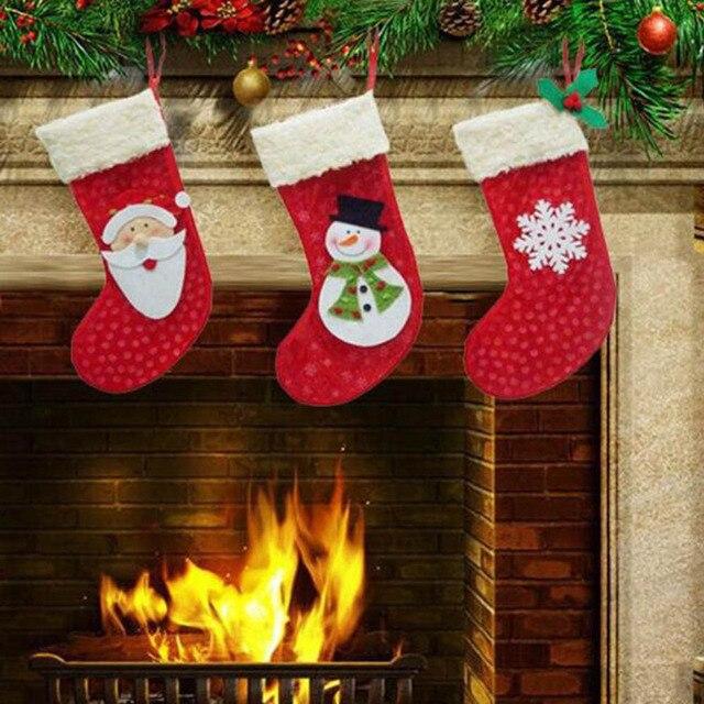 ДЮ #3 Шт./лот Новый Год 2016 Рождественские Чулки Носки Санта-Клаус Конфеты Мешок Подарка Xmas Елочные украшения Бесплатная Доставка