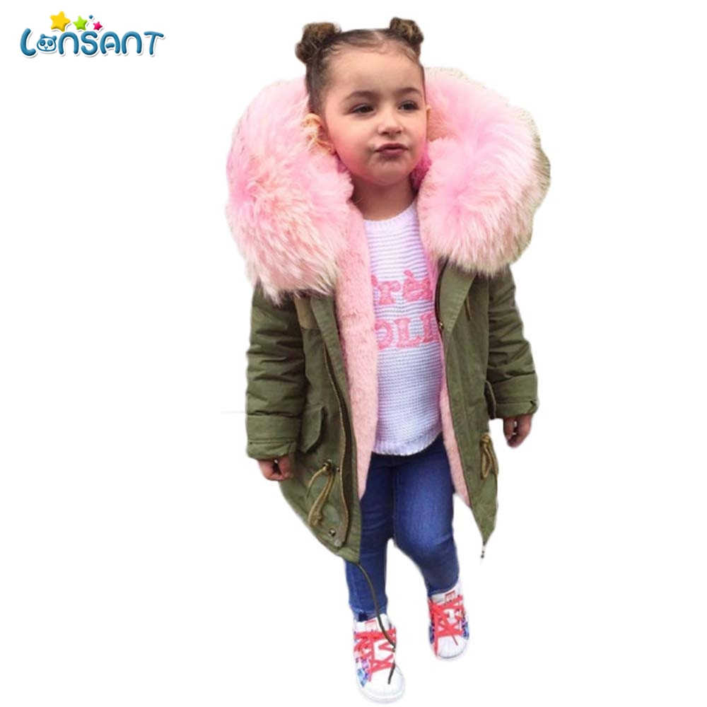LONSANT Baby Girls Boys Jacket Autumn Winter Jacket Coat Kids Warm Thick Hooded Children Outerwear Army Green Zipper Clothing цена