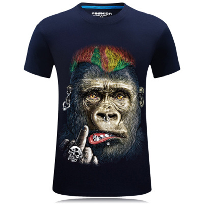 Summer T Shirts Men Orangutan 3D Printed Pug Funny Causal Short Sleeve T-shirts Male Tees Round Neck Hip Hop Pullover Top
