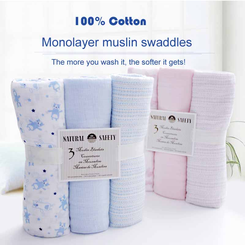 SHILOH Baby Newborn Classic Muslin Swaddle Blanket 100% Soft Bamboo Best for Babies, Big Size 112cm*112cm 3 count