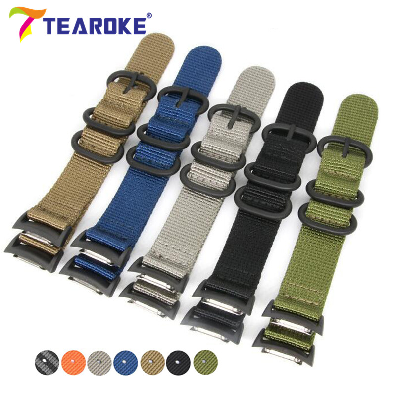 цена на Nylon Watchband for Samsung Galaxy Gear S2 R720 Durable Canvas Nato Replacement Band Strap for SM-R720 Smart Watch with Adapters