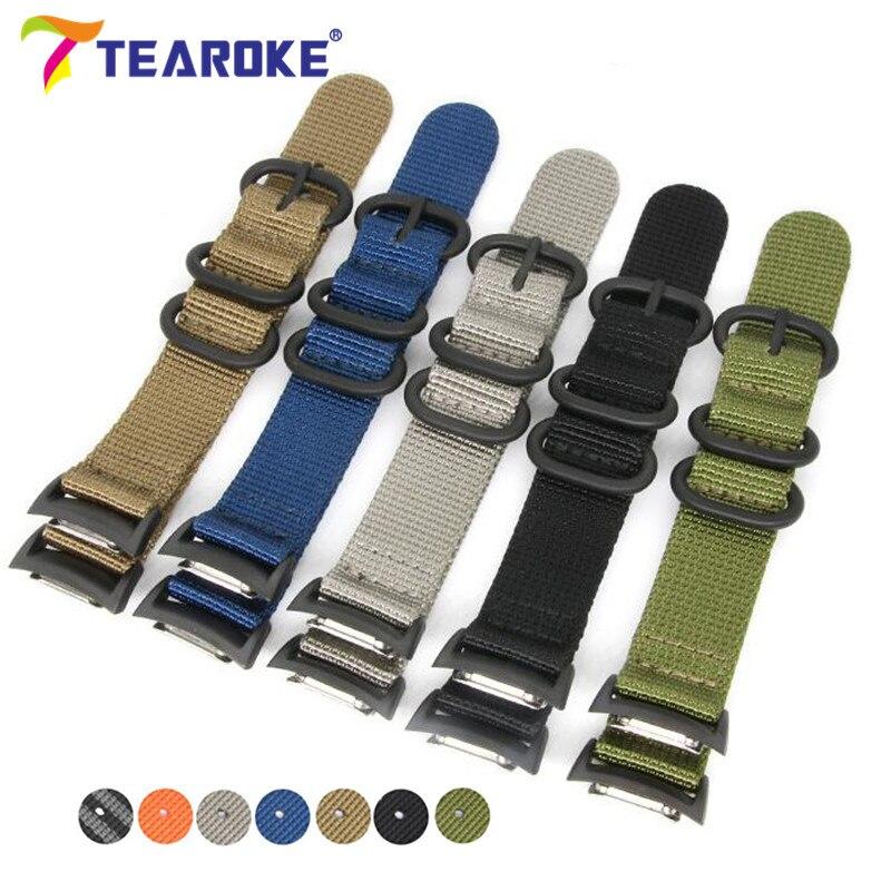 TEAROKE Durable Toile Nylon Bracelet pour Samsung Galaxy Vitesse S2 R720 Classique Remplacement De Courroie De Bande pour le Sport Montre SM-R720