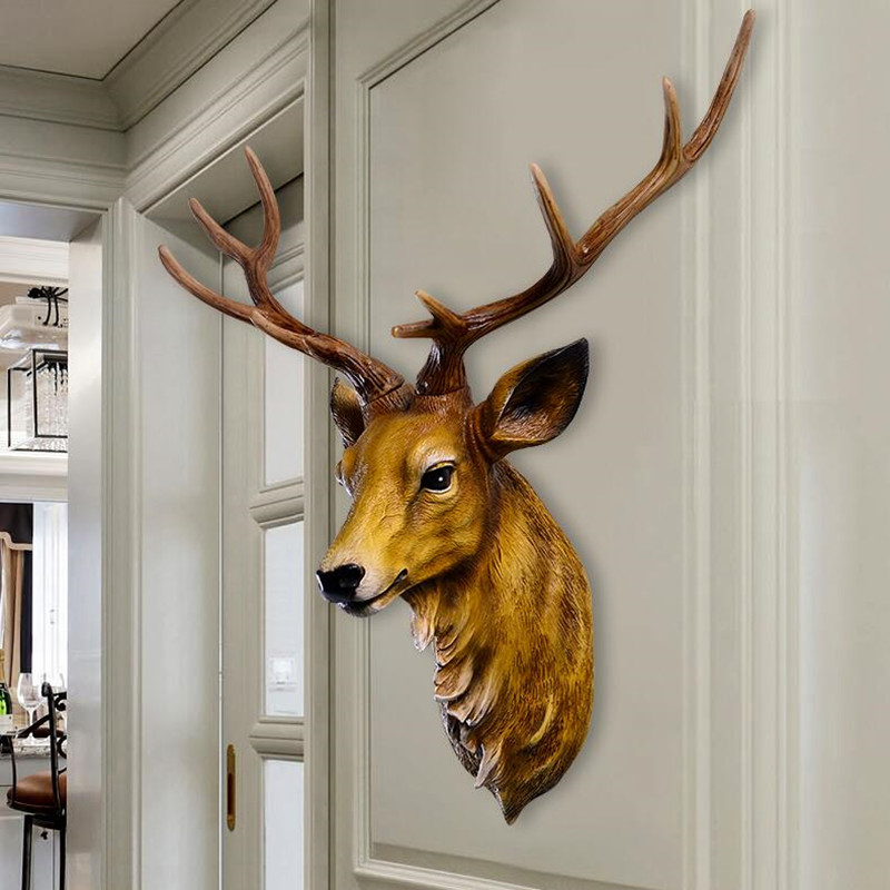 Simulation deer head wall hanging animal head wall decoration European retro creative living room background wall decoration