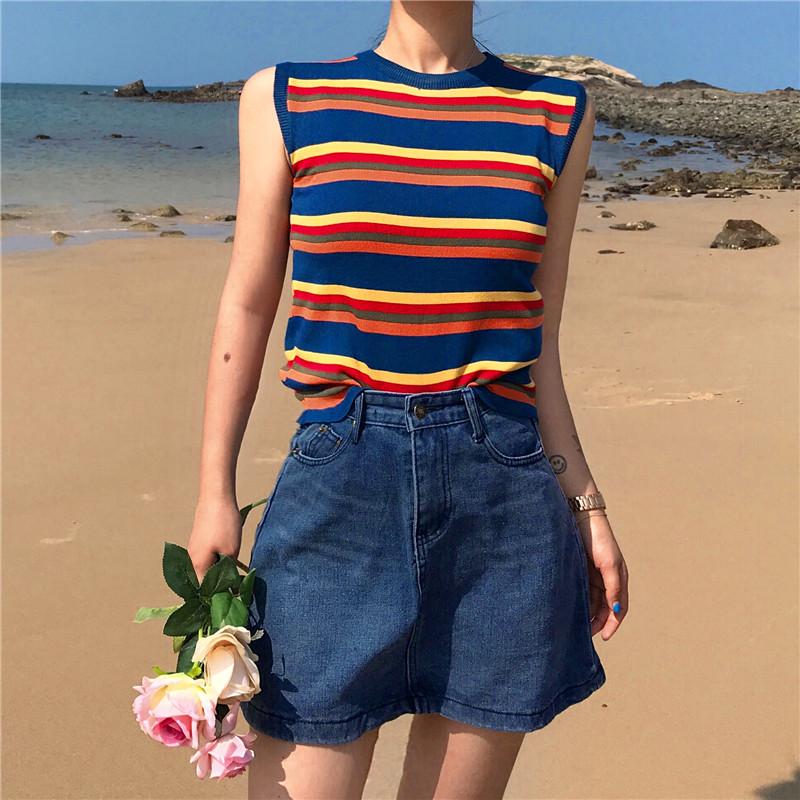 Rainbow Striped Crop   Top   Knitted   Tank     Top   Women Blouse Soft   Tops   Female Sleeveless Vest Casual Streetwear 2019 spring Summer