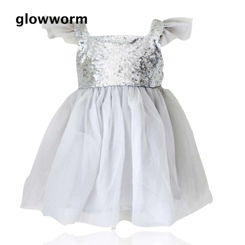 Glowwormkids Girls Dress 2018 Spring Summer Kids Clothes Runway Dress Girls Children Clothing Small Sequins 2-7T hs012