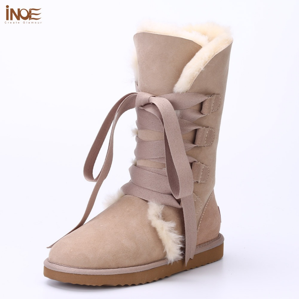New Fashion lace up snow boots for womens bootlace real sheepskin leather nature wool fur winter shoes for lady Free Shipping