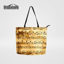 Dispalang Canvas Bags For Ladies Big Reusable Grocery Shopping Bag Musical  Note Prints Women Handbag Bolsa 01264cc311f85