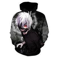 Anime 3D Sweatshirts Men Women Tracksuits Tops Print Hooded Anime Tokyo Ghoul Kaneki Ken 3D Hoodies