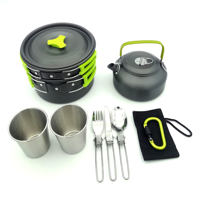 Outdoor Cookware Set Camping Tableware Cooking Carabiner Travel Tableware Cutlery Utensils Hiking Picnic Set Camping Cookware 2