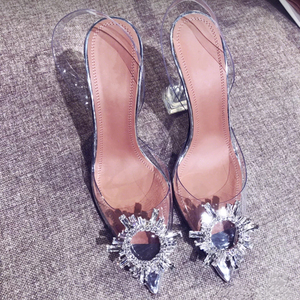 Image 4 - Big size 44 45 Women Pumps Elegant Pointed toe Rhinestones High heels Wedding Shoes Crystal Clear heeled Slingback Pumps Sandals