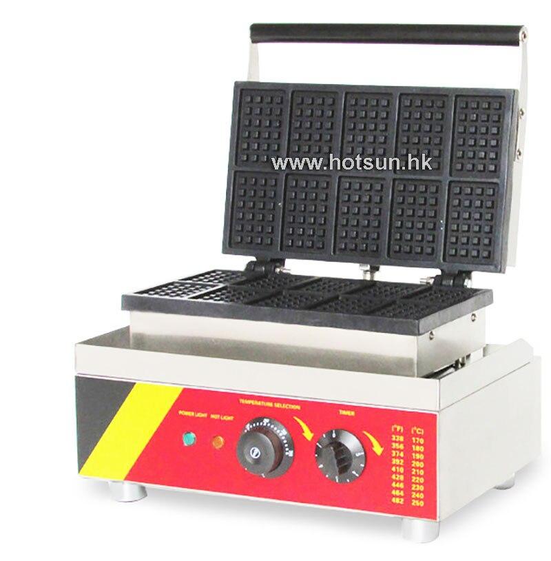 Commercial Non-stick 110V 220V Electric 10pcs Square Belgium Waffle Maker Iron Machine commercial non stick 110v 220v electric 6pcs waffle pancake maker iron machine