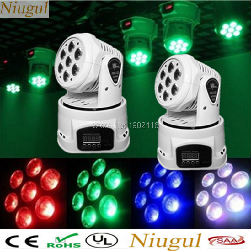 Niugul 2pcs/lot DMX512 stage effect light/RGBW 7x12w mini led wash moving head /home party Xmas holiday lights/Disco DJ lighting 10w disco dj lighting 10w led spot gobo moving head dmx effect stage light holiday lights