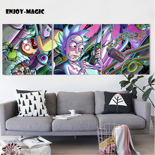 Rick and Morty Painting Cartoon Anime Poster HD Printed Art Silk Prints Home Decor Canvas Fabrci Wall 10-03