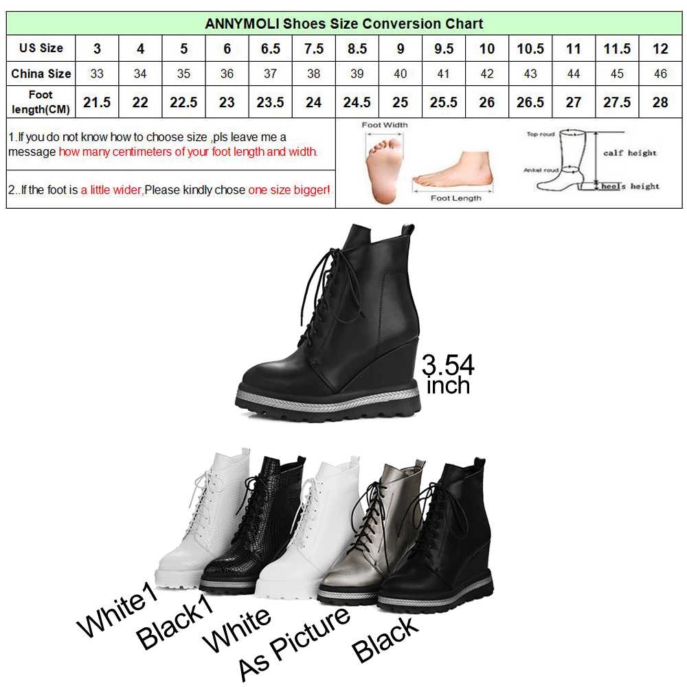 ANNYMOLI ฤดูหนาวผู้หญิงข้อเท้ารองเท้าแพลตฟอร์ม Wedge รองเท้าส้นสูงรองเท้าส้นสูงหญิงรองเท้าฤดูใบไม้ร่วงรองเท้า 2018 ขนาด 42 Chaussure Femme