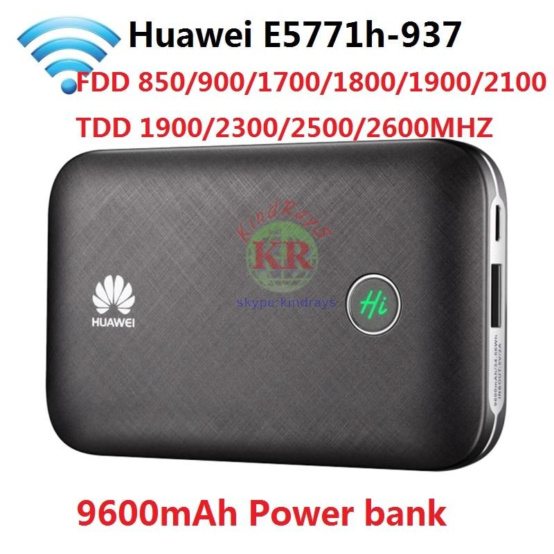 Unlocked Huawei E5771 E5771h-937 9600mAh Power Bank 4G LTE MIFI Modem WiFi Router Mobile hotspot PK E5573 E589 E5770 E5186 цена