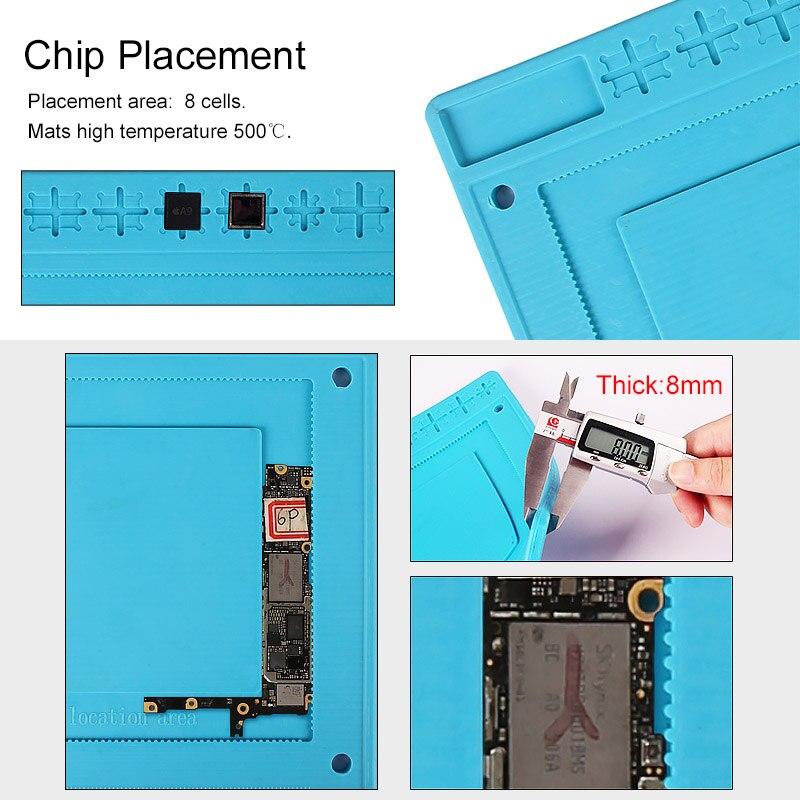 Купить с кэшбэком UANME Heat Insulation Silicone Pad Desk Mat Maintenance Platform for BGA Soldering Repair Work Station+Screw Parts Position