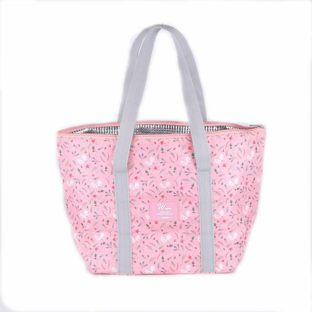 Large Capacity Lunch Bag Portable Office Camping School Food Bag Casual Fashion Print Foldable Tote