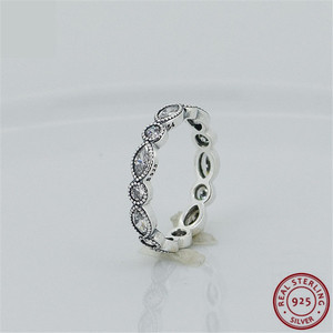 Image 1 - Classic Stackable Rings for Women 925 Sterling Silver Jewelry with Alternating Brilliant cut & Marquise cut Cubic Zircon FLR042