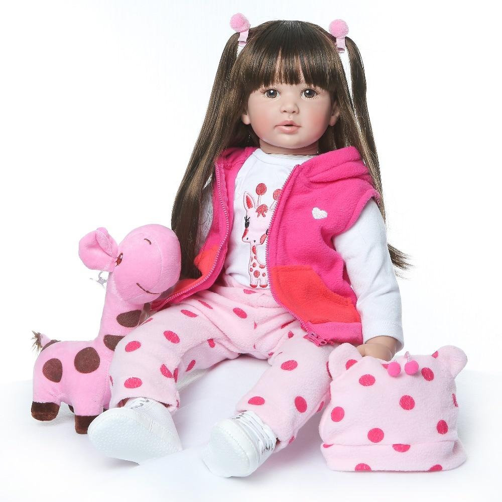NPK 60CM Hohe Qualität Reborn Kleinkind Prinzessin Mädchen Puppe Mit Giraffe Entzückende Lebensechte Baby Bonecas Bebe Puppe Reborn Menina