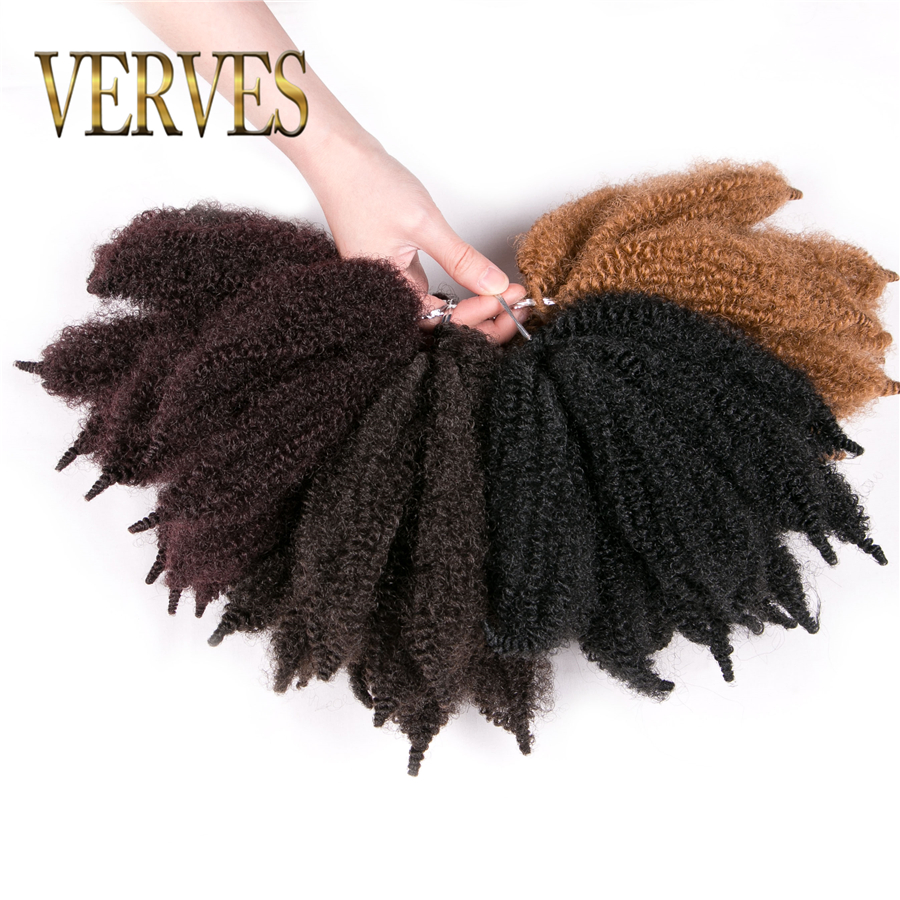VERVES Crochet Hair Curly Extensions 8 Inch,Synthetic Ombre Braiding Hair Afro Kinky Bulk Twist Braids Black Blond Bundles