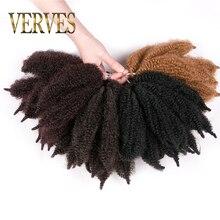 VERVES Crochet Hair curly Extensions 8 inch,Synthetic ombre braiding hair Afro kinky bulk twist braids Black Blond bundles