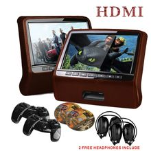 2*9inchLeather Style Brown Color Headrest Car DVD Headrest DVD Headrest Monitor DVD with HDMI Port & 2 IR/FM Headphone Included