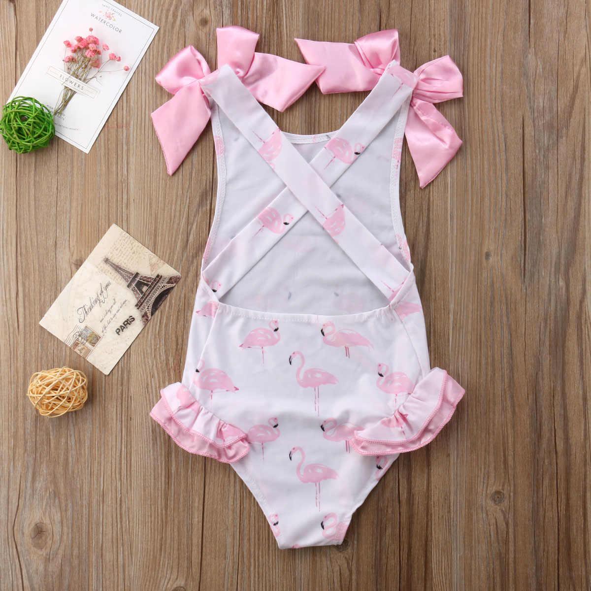 6b416f37583 Summer Baby Girl Bow Swimsuit Flamingo Kids Bodysuit Swimming Clothes  Swimwear Bathing Suit For Baby Girl
