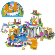 768PCS City Heartlake Pool Building Blocks Friends Figures Holiday Hotel DIY Bricks Educational Toys For Girls building blocks girls series the heartlake grand hotel model finger brick compatible 41101 educational toys for kids
