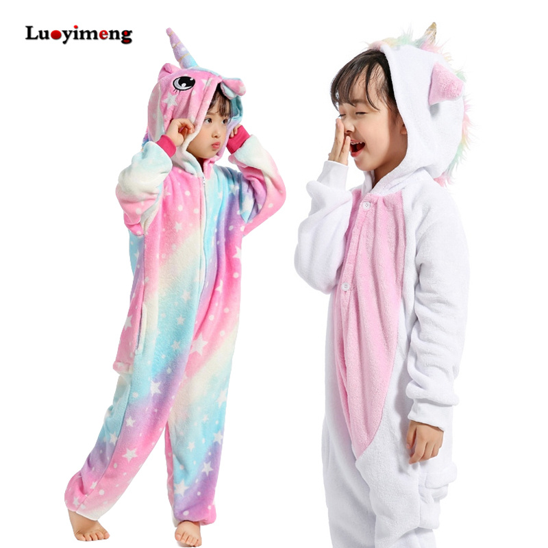 Girls Clothes Kids Gold Horn Unicorn Pajamas Kigurumi Cartoon Animal Pink Licorne Onesie Sleepers Boy Halloween Costume Jumpsuit