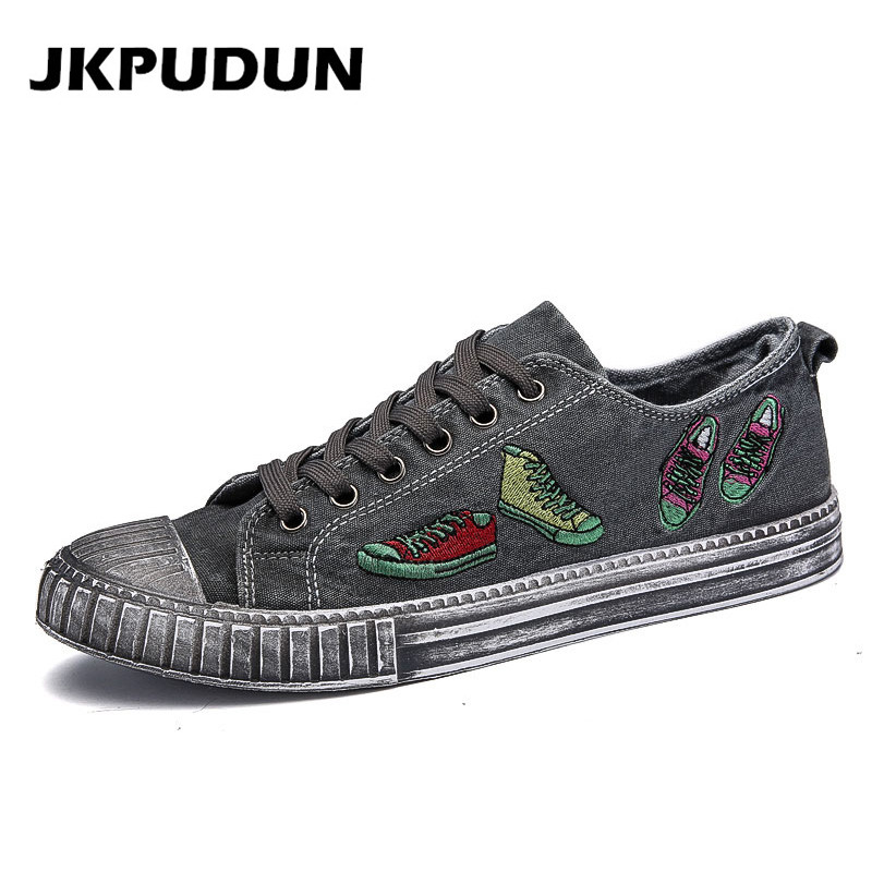 JKPUDUN Summer Men Canvas Shoes Casual Designer Fashion