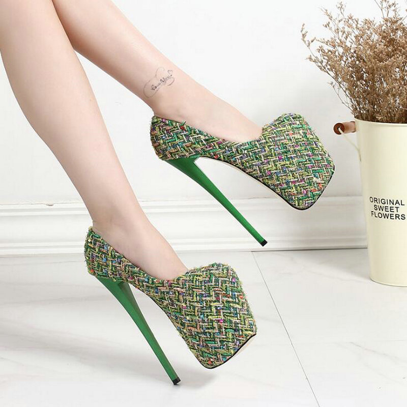 Sexy Ladies Thin Heels Pumps Platform Wool  Concise Shallow super High Heels Shoes Woman Wedding Party Shoes 20CM BIG 43. OO-24Sexy Ladies Thin Heels Pumps Platform Wool  Concise Shallow super High Heels Shoes Woman Wedding Party Shoes 20CM BIG 43. OO-24
