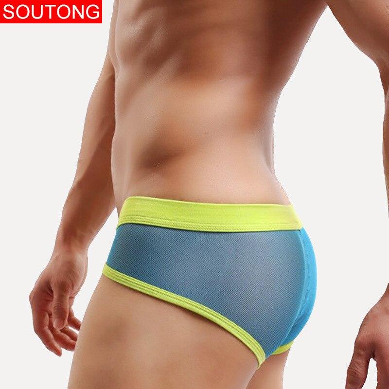 Soutong Men underwear Briefs Gridding Mesh Transparent U Convex Bright Male Color Green Blue