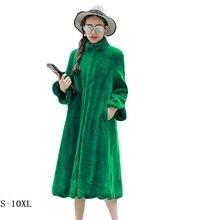 Faroonee Elegant Faux Fur Coat Fashion 6xl Female Winter New Womens Long Section Imitation Rabbit Fat