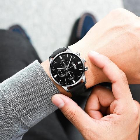 Mens Wrist Watch Stainless Steel Case Leather Band Quartz Analog watch man watches mens 2019 relogio masculino Multan