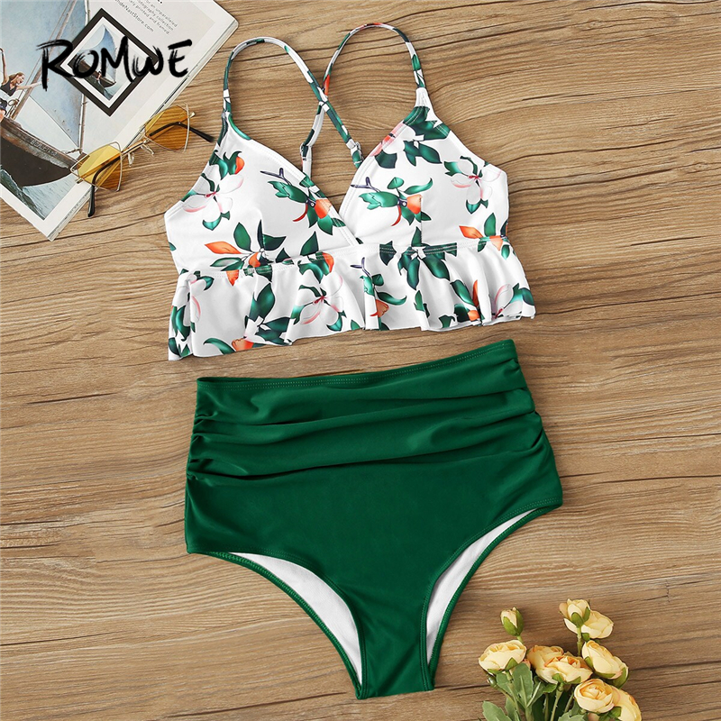 Romwe Bikinis-Set Swimwear Peplum-Top Suits Bottoms Ruched Floral Two-Pieces High-Waist